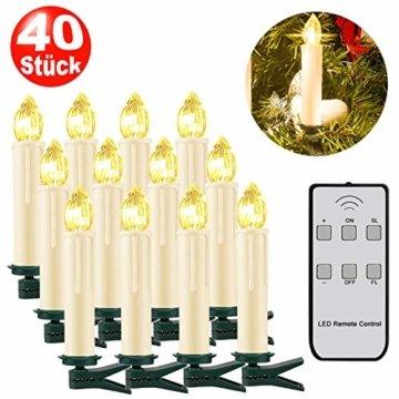 SZILBZ 40Stk Weihnachten LED Kerzen Lichterkette Weihnachtsbaumkerzen weihnachtskerzen Christbaumkerzen mit Fernbedienung Kabellos - 1