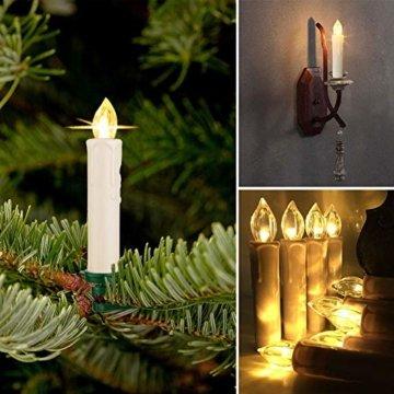 SZILBZ 40Stk Weihnachten LED Kerzen Lichterkette Weihnachtsbaumkerzen weihnachtskerzen Christbaumkerzen mit Fernbedienung Kabellos - 5