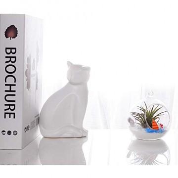 T4U 15cm Glasvase zum Anfhängen 2er-Set, Hängende Glaskugeln Pflanzgefäße für Sukkulenten und Kakteen, Luftpflanzen Halter Teelichthalter… - 2