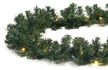 Tannengirlande 5 Meter grün mit 80 LED beleuchtet außen künstliche Tür-Girlande Weihnachten - 1