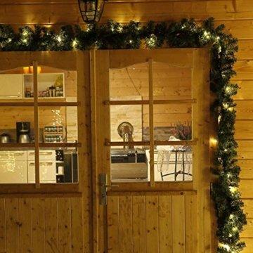 Tannengirlande 5 Meter grün mit 80 LED beleuchtet außen künstliche Tür-Girlande Weihnachten - 5