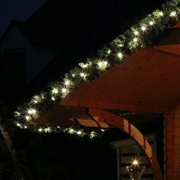 Tannengirlande grün 8,1 m mit 120 LED beleuchtet Weihnachtsbeleuchtung außen - 4