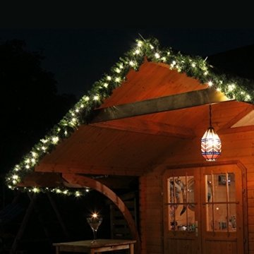 Tannengirlande grün 8,1 m mit 120 LED beleuchtet Weihnachtsbeleuchtung außen - 7