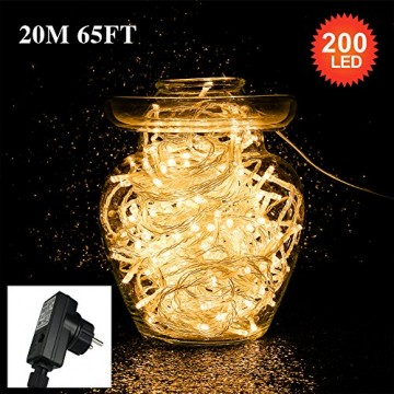 Tersely 20m 200er LED Lichterkette Weihnachten Kette Leuchte auf Transparent Kabel LED Lichter mit 8 Modi Innen und Außenbereich Lauflichter für Saal, Garten, Weihnachten, Hochzeit, Party-Warmweiß - 3