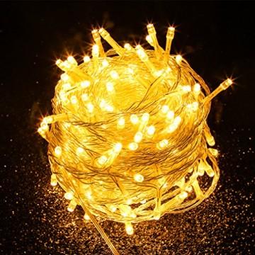 Tersely 20m 200er LED Lichterkette Weihnachten Kette Leuchte auf Transparent Kabel LED Lichter mit 8 Modi Innen und Außenbereich Lauflichter für Saal, Garten, Weihnachten, Hochzeit, Party-Warmweiß - 5