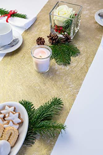 Tischläufer Gold Metallic, Polyester Vliesstoff, 30 cm x 10 m | Tischband | Tischdeko Weihnachten + Adventszeit | Deko Weihnachtsfeier … - 3
