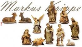 Unbekannt Krippenfiguren Markuskrippe gebeizt 11-TLG. Set geeignet für 9cm Figuren - 1