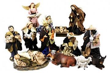 Unbekannt Krippenfiguren mit Kleidern, Heilige Familie, Heilige 3 Könige, Engel und Hirten (0941000) - 1
