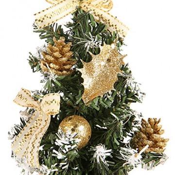 Urmagic Mini Weihnachtsbaum klein Künstlicher Tannenbaum mit Baumschmuck Weihnachtskugeln Künstliche Weihnachtsbäume weihnachts Desktop dekoration Weihnachtsgeschenke für Weihnachten - 3