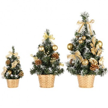 Urmagic Mini Weihnachtsbaum klein Künstlicher Tannenbaum mit Baumschmuck Weihnachtskugeln Künstliche Weihnachtsbäume weihnachts Desktop dekoration Weihnachtsgeschenke für Weihnachten - 4
