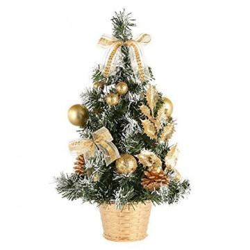 Urmagic Mini Weihnachtsbaum klein Künstlicher Tannenbaum mit Baumschmuck Weihnachtskugeln Künstliche Weihnachtsbäume weihnachts Desktop dekoration Weihnachtsgeschenke für Weihnachten - 1
