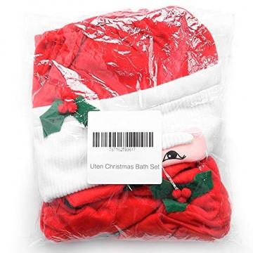 Uten Weihnachten Toilettensitzbezug Weihnachtsdeko WC-Sitze Set mit Sitzbezug & Teppich & Gewebe Deckel für Badezimmer im Weihnachtsmann-Design - 2