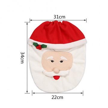 Uten Weihnachten Toilettensitzbezug Weihnachtsdeko WC-Sitze Set mit Sitzbezug & Teppich & Gewebe Deckel für Badezimmer im Weihnachtsmann-Design - 3