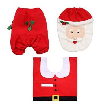 Uten Weihnachten Toilettensitzbezug Weihnachtsdeko WC-Sitze Set mit Sitzbezug & Teppich & Gewebe Deckel für Badezimmer im Weihnachtsmann-Design - 4