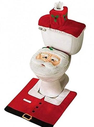 Uten Weihnachten Toilettensitzbezug Weihnachtsdeko WC-Sitze Set mit Sitzbezug & Teppich & Gewebe Deckel für Badezimmer im Weihnachtsmann-Design - 1