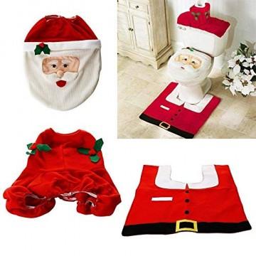 Uten Weihnachten Toilettensitzbezug Weihnachtsdeko WC-Sitze Set mit Sitzbezug & Teppich & Gewebe Deckel für Badezimmer im Weihnachtsmann-Design - 5