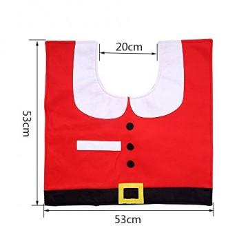 Uten Weihnachten Toilettensitzbezug Weihnachtsdeko WC-Sitze Set mit Sitzbezug & Teppich & Gewebe Deckel für Badezimmer im Weihnachtsmann-Design - 7