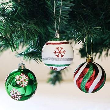 Valery Madelyn Weihnachtskugeln 30 Stücke 6CM Kunststoff Christbaumkugeln Weihnachtsdeko mit Aufhänger Weihnachtsbaumschmuck für Dekoration Klassische Serie Thema Rot Grün Weiß MEHRWEG Verpackung - 4