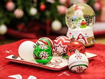 Valery Madelyn Weihnachtskugeln 30 Stücke 6CM Kunststoff Christbaumkugeln Weihnachtsdeko mit Aufhänger Weihnachtsbaumschmuck für Dekoration Klassische Serie Thema Rot Grün Weiß MEHRWEG Verpackung - 5