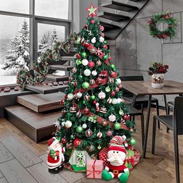 Valery Madelyn Weihnachtskugeln 30 Stücke 6CM Kunststoff Christbaumkugeln Weihnachtsdeko mit Aufhänger Weihnachtsbaumschmuck für Dekoration Klassische Serie Thema Rot Grün Weiß MEHRWEG Verpackung - 6