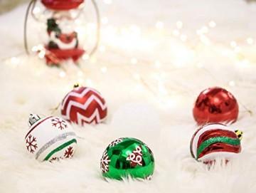 Valery Madelyn Weihnachtskugeln 30 Stücke 6CM Kunststoff Christbaumkugeln Weihnachtsdeko mit Aufhänger Weihnachtsbaumschmuck für Dekoration Klassische Serie Thema Rot Grün Weiß MEHRWEG Verpackung - 7