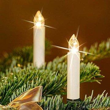 VASEN 10/20/30/40er LED Weihnachtsbaumkerzen Kabellos mit Fernbedienung Warmweiß Flammenlos Christbaumkerzen (40er) - 8