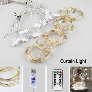 Vegena LED USB Lichtervorhang 3m x 3m, 300 LEDs Lichterkettenvorhang mit 8 Modi Lichterkette Gardine für Partydekoration Schlafzimmer Innenbeleuchtung Weihnachten Deko Weiß [Energieklasse A+++] - 3