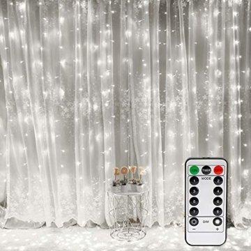 Vegena LED USB Lichtervorhang 3m x 3m, 300 LEDs Lichterkettenvorhang mit 8 Modi Lichterkette Gardine für Partydekoration Schlafzimmer Innenbeleuchtung Weihnachten Deko Weiß [Energieklasse A+++] - 1