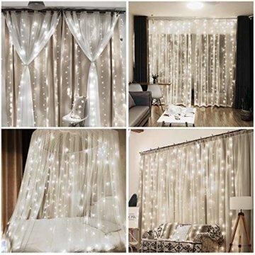 Vegena LED USB Lichtervorhang 3m x 3m, 300 LEDs Lichterkettenvorhang mit 8 Modi Lichterkette Gardine für Partydekoration Schlafzimmer Innenbeleuchtung Weihnachten Deko Weiß [Energieklasse A+++] - 7
