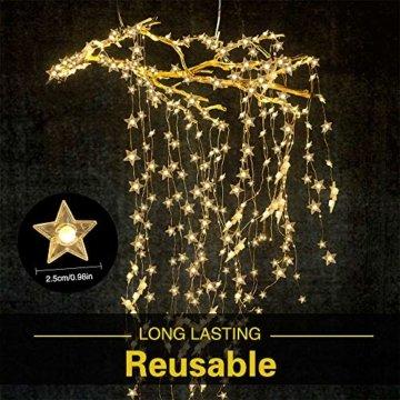 VEGKEY LED Lichterkette Sterne, 100 Warmweiße Sterne, LED Stern Draht Lichterkette für Innen und Außen Dekoration wie Zimmer, Weihnachten, Geburtstag,Party, Kinderzimmer - 3
