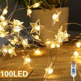 VEGKEY LED Lichterkette Sterne, 100 Warmweiße Sterne, LED Stern Draht Lichterkette für Innen und Außen Dekoration wie Zimmer, Weihnachten, Geburtstag,Party, Kinderzimmer - 1