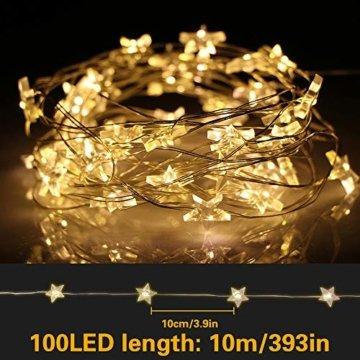 VEGKEY LED Lichterkette Sterne, 100 Warmweiße Sterne, LED Stern Draht Lichterkette für Innen und Außen Dekoration wie Zimmer, Weihnachten, Geburtstag,Party, Kinderzimmer - 5