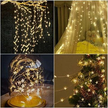 VEGKEY LED Lichterkette Sterne, 100 Warmweiße Sterne, LED Stern Draht Lichterkette für Innen und Außen Dekoration wie Zimmer, Weihnachten, Geburtstag,Party, Kinderzimmer - 6