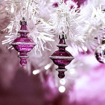 Victor's Workshop 60 TLG.Weihnachtskugeln Rosa Weihnachtsbaum Schmuck Dekoration, Kunststoff Pink Violett Christbaumschmuck für Weihnachtsdeko Anhänger MEHRWEGVERPACKUNG - 2