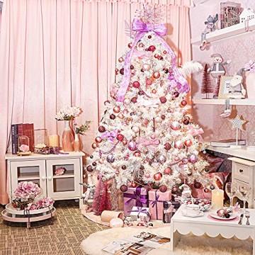 Victor's Workshop 60 TLG.Weihnachtskugeln Rosa Weihnachtsbaum Schmuck Dekoration, Kunststoff Pink Violett Christbaumschmuck für Weihnachtsdeko Anhänger MEHRWEGVERPACKUNG - 4