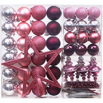 Victor's Workshop 60 TLG.Weihnachtskugeln Rosa Weihnachtsbaum Schmuck Dekoration, Kunststoff Pink Violett Christbaumschmuck für Weihnachtsdeko Anhänger MEHRWEGVERPACKUNG - 1