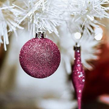 Victor's Workshop 60 TLG.Weihnachtskugeln Rosa Weihnachtsbaum Schmuck Dekoration, Kunststoff Pink Violett Christbaumschmuck für Weihnachtsdeko Anhänger MEHRWEGVERPACKUNG - 6