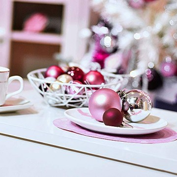 Victor's Workshop 60 TLG.Weihnachtskugeln Rosa Weihnachtsbaum Schmuck Dekoration, Kunststoff Pink Violett Christbaumschmuck für Weihnachtsdeko Anhänger MEHRWEGVERPACKUNG - 7