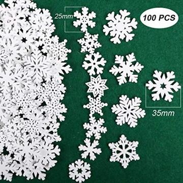 VINFUTUR 100 Stücke Weihnachtenanhänger Holz Schneeflocken 25mm 35mm Mini Streuteile Schneeflocken Tischdeko Weihnachten Winterdeko Holzdeko (Schneeflocken) - 2