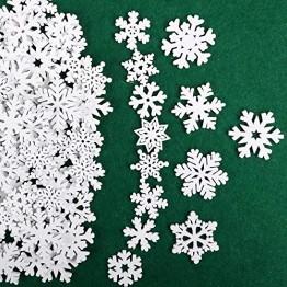 VINFUTUR 100 Stücke Weihnachtenanhänger Holz Schneeflocken 25mm 35mm Mini Streuteile Schneeflocken Tischdeko Weihnachten Winterdeko Holzdeko (Schneeflocken) - 1