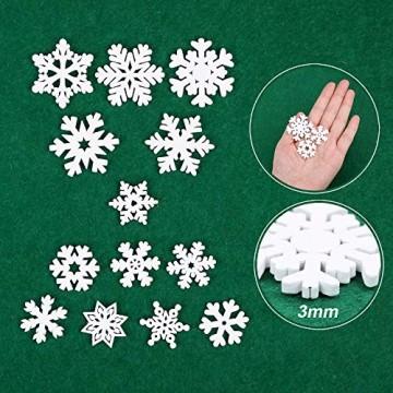 VINFUTUR 100 Stücke Weihnachtenanhänger Holz Schneeflocken 25mm 35mm Mini Streuteile Schneeflocken Tischdeko Weihnachten Winterdeko Holzdeko (Schneeflocken) - 4