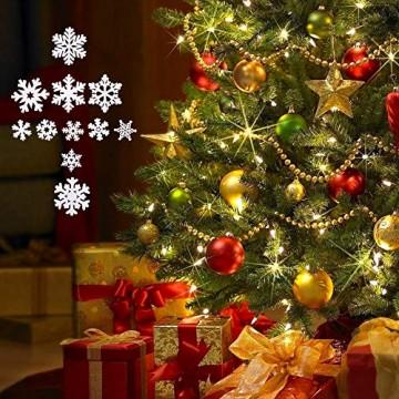 VINFUTUR 100 Stücke Weihnachtenanhänger Holz Schneeflocken 25mm 35mm Mini Streuteile Schneeflocken Tischdeko Weihnachten Winterdeko Holzdeko (Schneeflocken) - 5