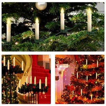 VINGO 10er LED Weihnachtskerzen mit Fernbedienung Kabellos Warmweiß Kerzen Dimmbar Christbaumkerzen für Weihnachtsbaum,Christbaumsdeko - 6