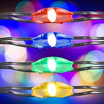 VOLTRONIC 2er Set 50 100 200 LED Lichterdraht Lichterkette, BATTERIEBETRIEBEN, mit Timer, für innen und außen, IP44, erhältlich in: warmweiß kaltweiß bunt warmweiß+kaltweiß, Batterie - 3