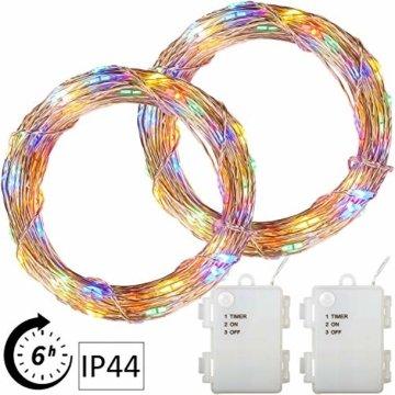 VOLTRONIC 2er Set 50 100 200 LED Lichterdraht Lichterkette, BATTERIEBETRIEBEN, mit Timer, für innen und außen, IP44, erhältlich in: warmweiß kaltweiß bunt warmweiß+kaltweiß, Batterie - 1