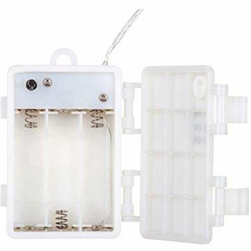 VOLTRONIC 2er Set 50 100 200 LED Lichterdraht Lichterkette, BATTERIEBETRIEBEN, mit Timer, für innen und außen, IP44, erhältlich in: warmweiß kaltweiß bunt warmweiß+kaltweiß, Batterie - 5
