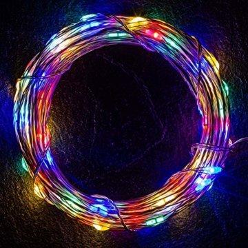 VOLTRONIC 2er Set 50 100 200 LED Lichterdraht Lichterkette, BATTERIEBETRIEBEN, mit Timer, für innen und außen, IP44, erhältlich in: warmweiß kaltweiß bunt warmweiß+kaltweiß, Batterie - 6