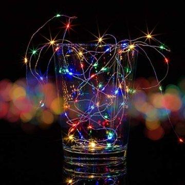 VOLTRONIC 2er Set 50 100 200 LED Lichterdraht Lichterkette, BATTERIEBETRIEBEN, mit Timer, für innen und außen, IP44, erhältlich in: warmweiß kaltweiß bunt warmweiß+kaltweiß, Batterie - 7