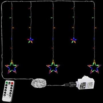 VOLTRONIC® 5 Sterne (61 LED) / 12 Sterne (150 LED) Lichtervorhang Lichterkette, GS geprüft, innen + außen (IP44), Timer, 8 Programme, Fernbedienung, warm-White/kaltweiß/bunt/warmweiß+kaltweiß - 3