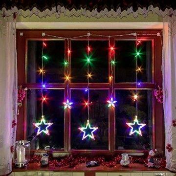VOLTRONIC® 5 Sterne (61 LED) / 12 Sterne (150 LED) Lichtervorhang Lichterkette, GS geprüft, innen + außen (IP44), Timer, 8 Programme, Fernbedienung, warm-White/kaltweiß/bunt/warmweiß+kaltweiß - 4